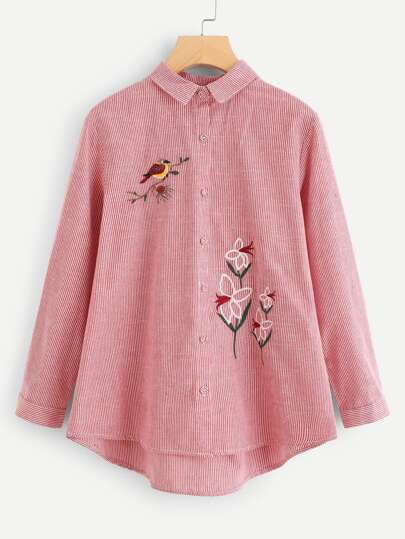 Embroidered Bird High Low Striped Blouse