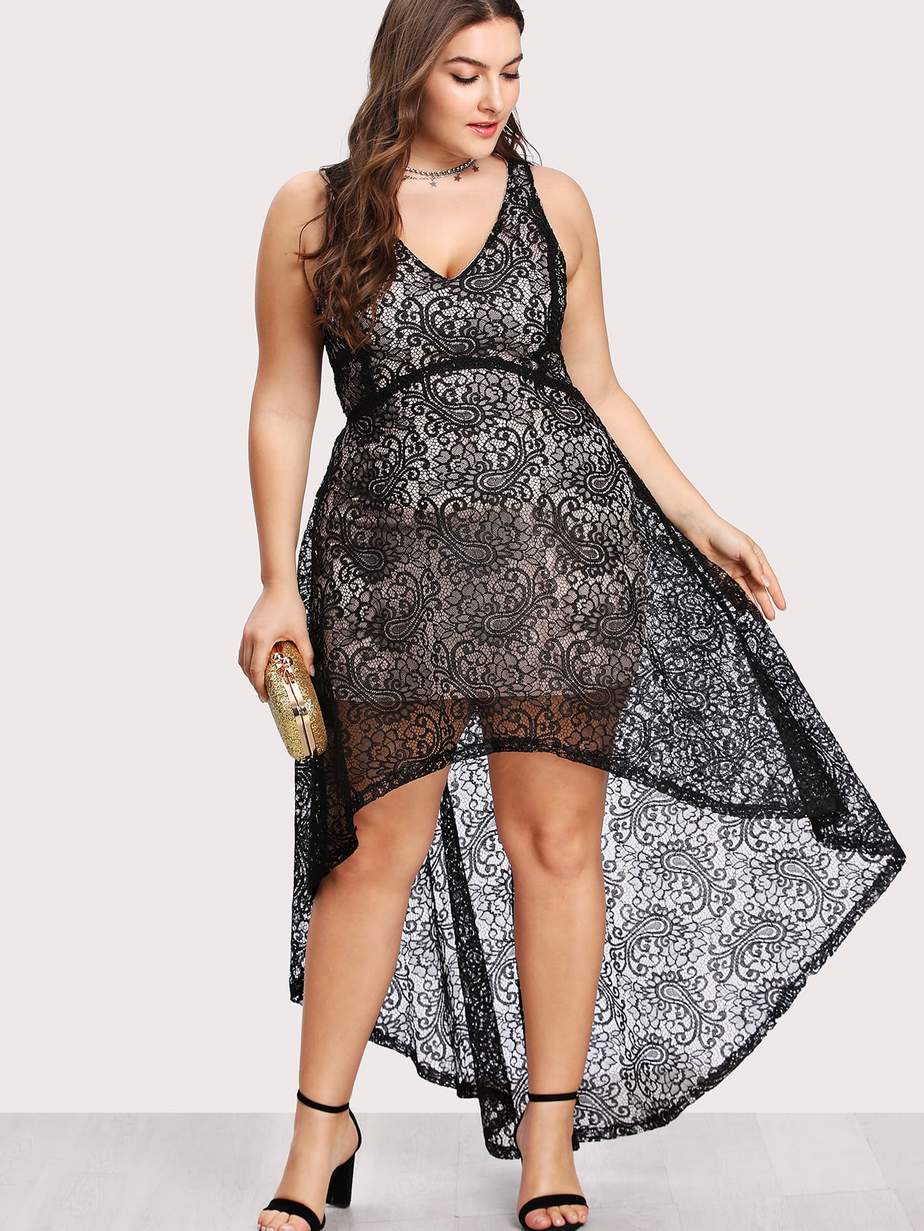 Floral Lace Overlay Dip Hem Dress floral lace overlay top