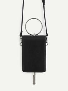Ring Design PU Crossbody Bag