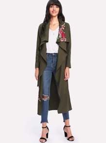 Floral Embroidered Applique Waterfall Wrap Coat