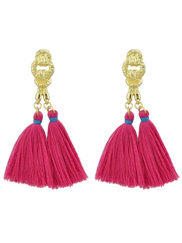 Hotpink Colorful Handmade Tassel Boho Earrings For Women