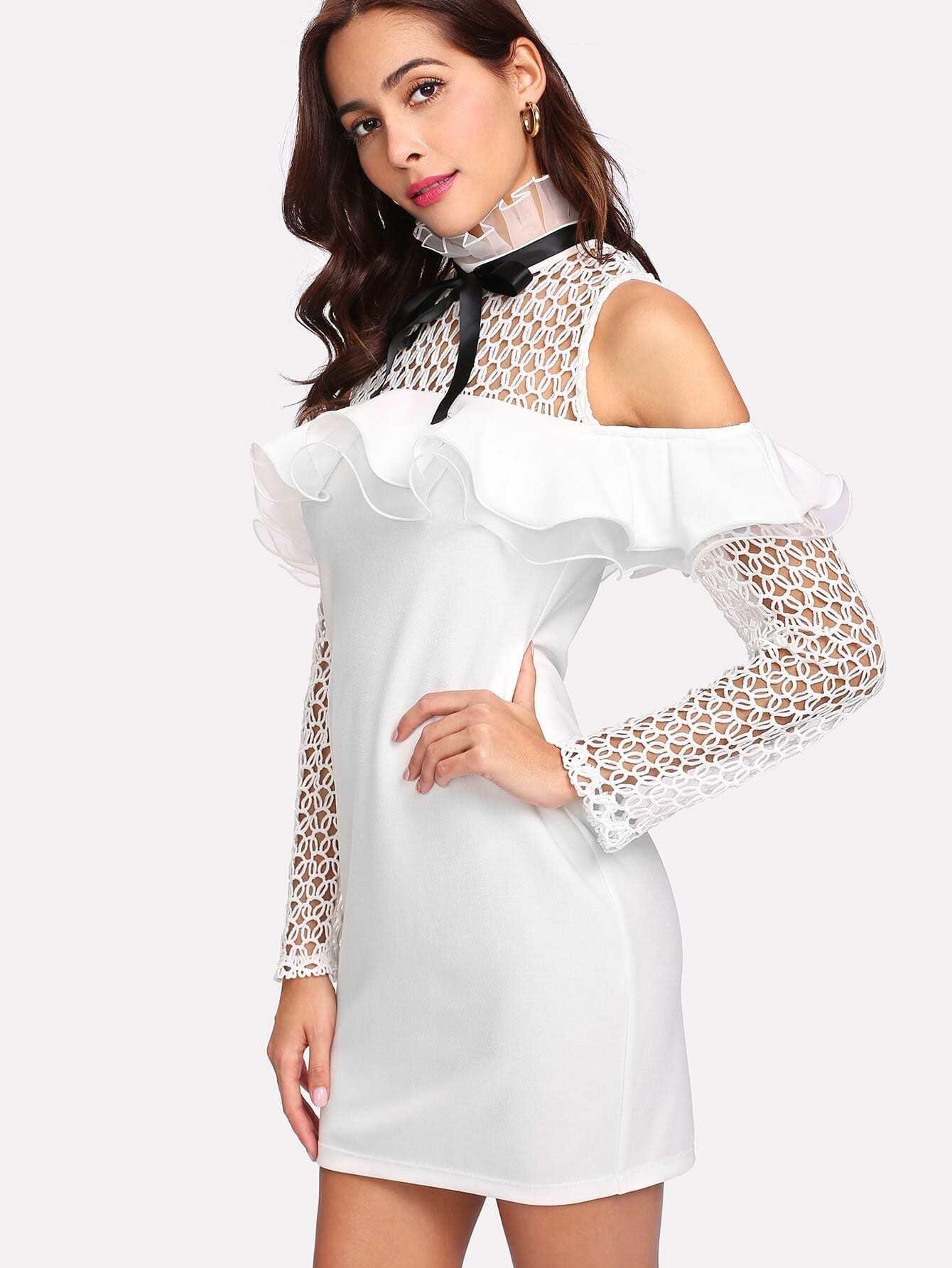 Ruffle Trim Eyelet Crochet Cold Shoulder Dress