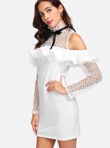 Ruffle Trim Eyelet Crochet Cold Shoulder Dress