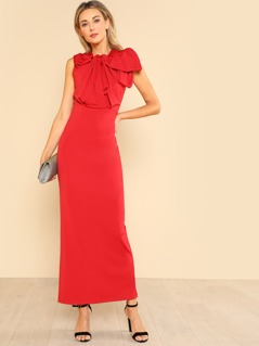 Exaggerated Tied Neck Sleeveless Dress