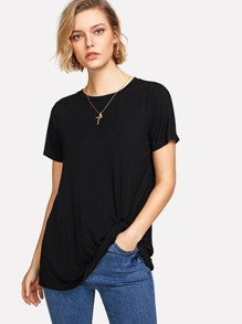 Twist Hem Solid T-shirt