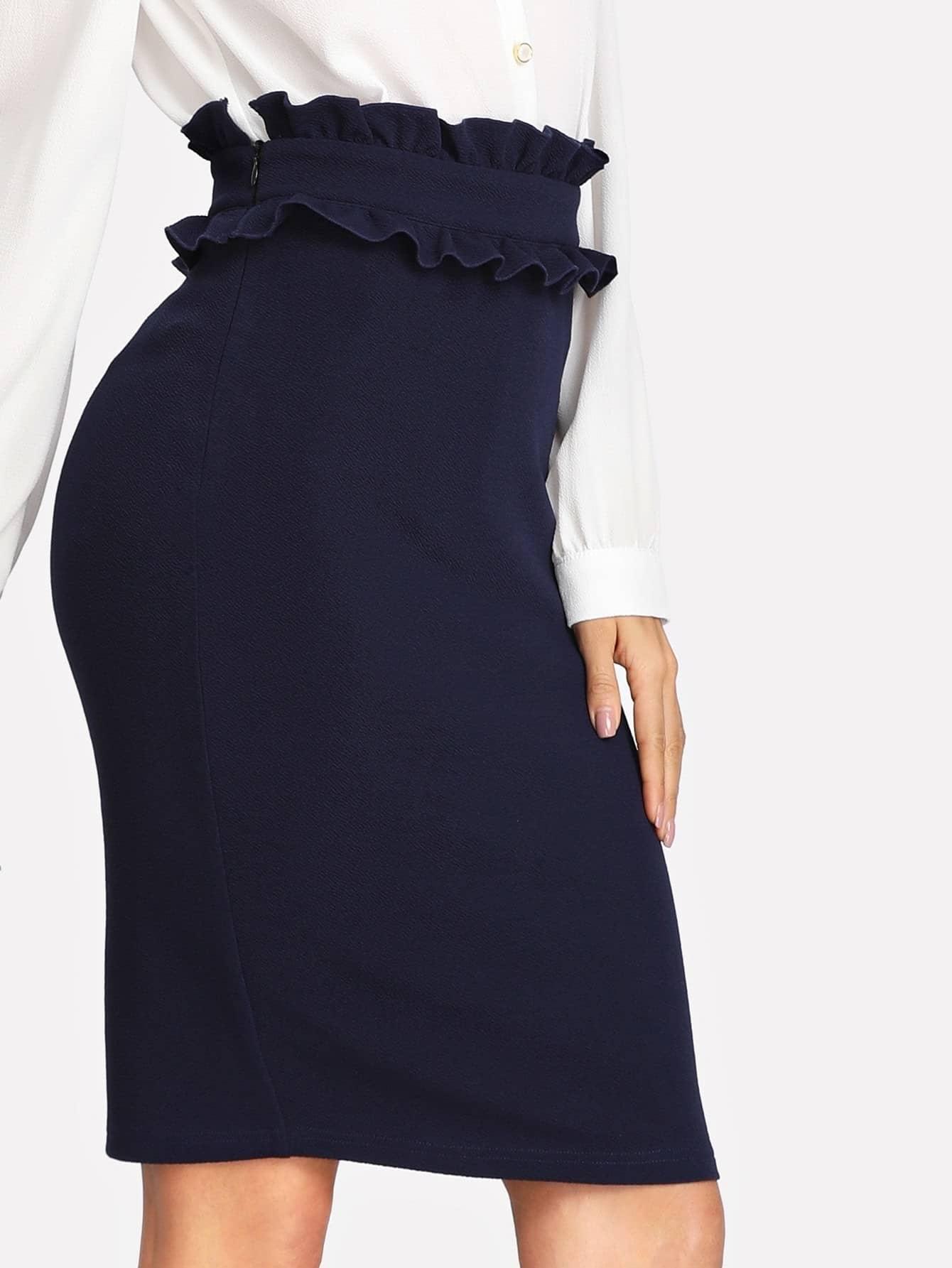 Ruffle Waist Slit Back Pencil Skirt grommet lace up slit back pencil skirt