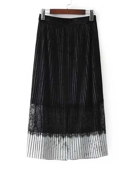 Lace Insert Velvet Pleated Skirt