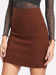 Slit Back Knit Skirt