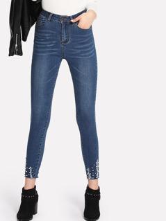 Pearl Beading Shredded Hem Jeans