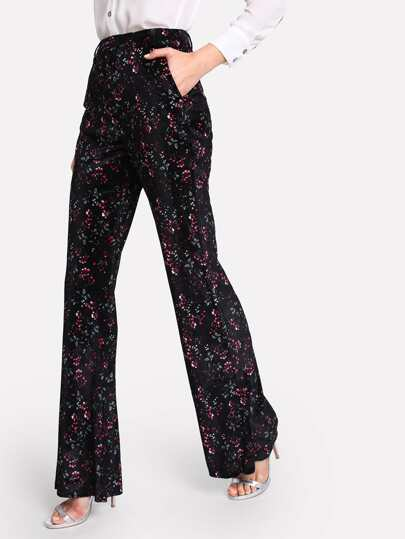 Flower Print Flare Pants