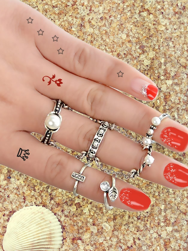 Image of At-Silver 6Pcs/Set Boho Chic Vintage Style Circle Chain Knuckle Ring Set
