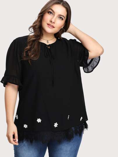 Knot Neck Lace Hem Tunic Top