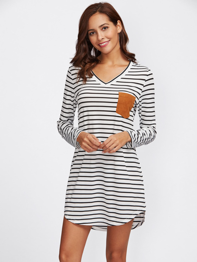 Contrast Suede Pocket Curved Hem Striped Tee Dress