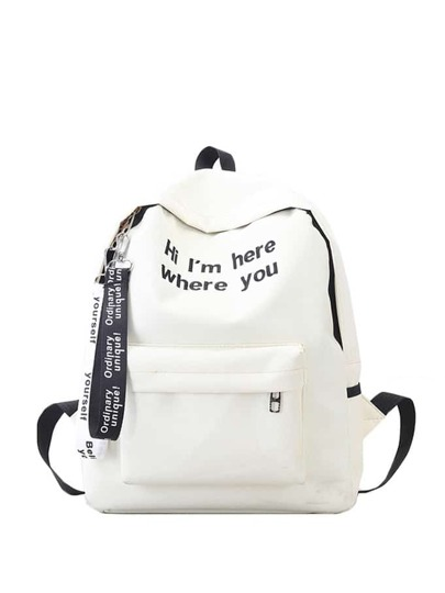 Slogan Ribbon bordado mochila