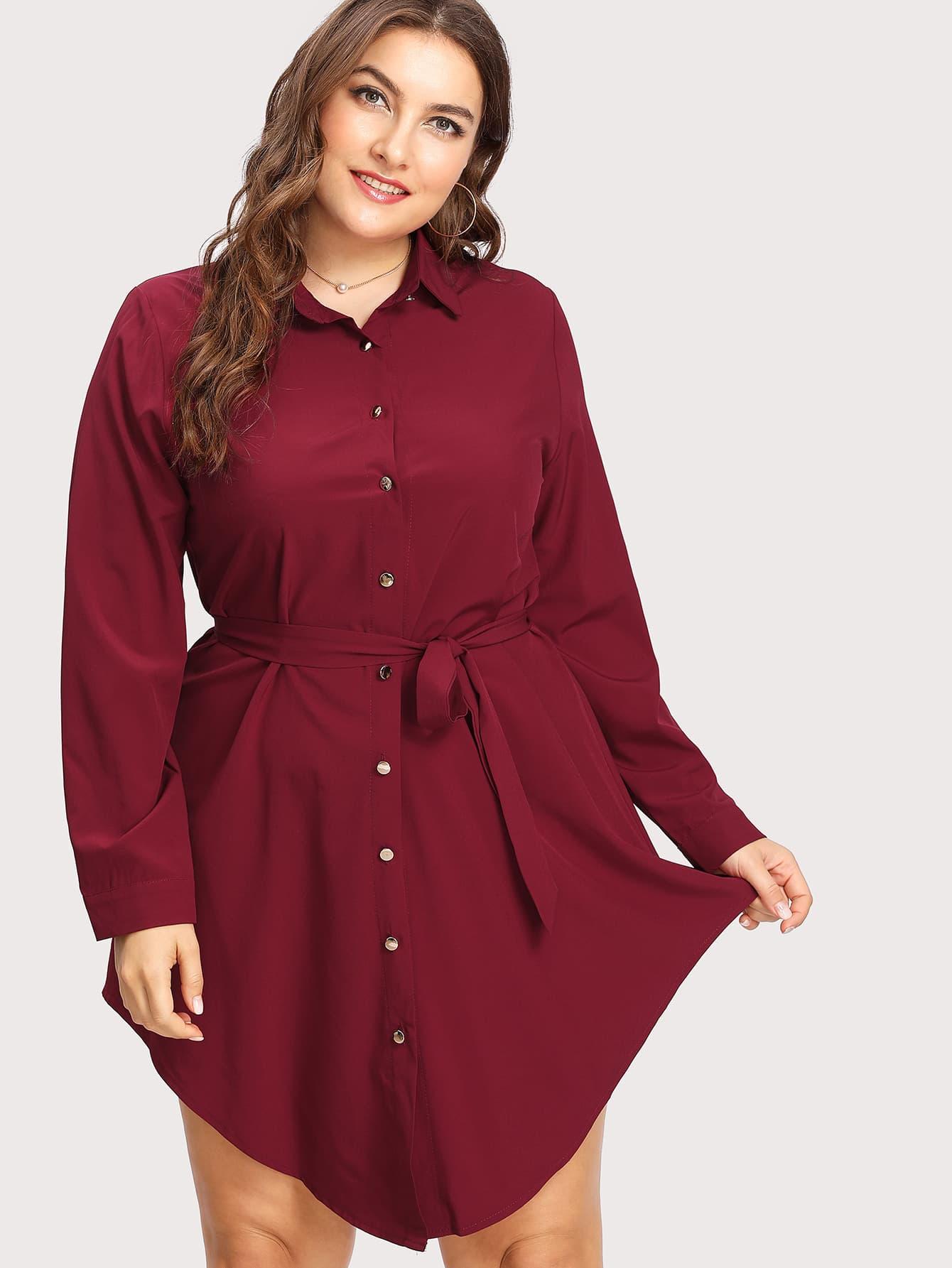 Bluse Kleid mit gekrümmtem Saum