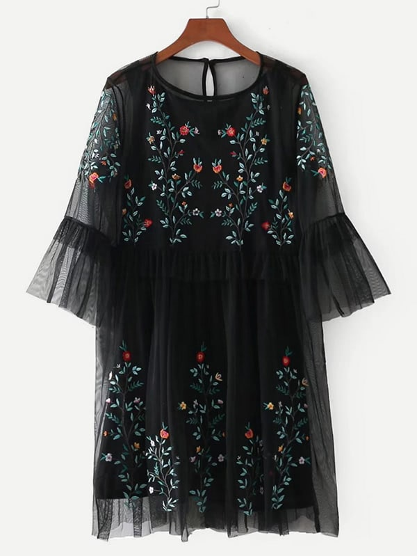 Mesh Overlay Embroidered Dress
