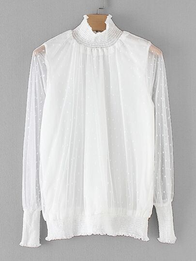 Shirred Trim Sheer Mesh Blouse