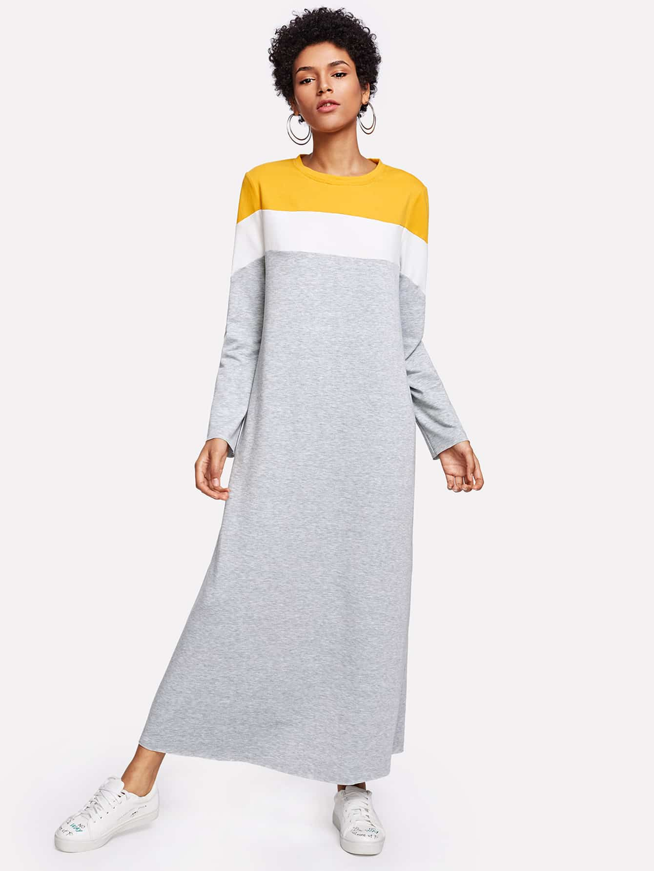 Cut And Sew Sweatshirt Dress cut and sew cami dress