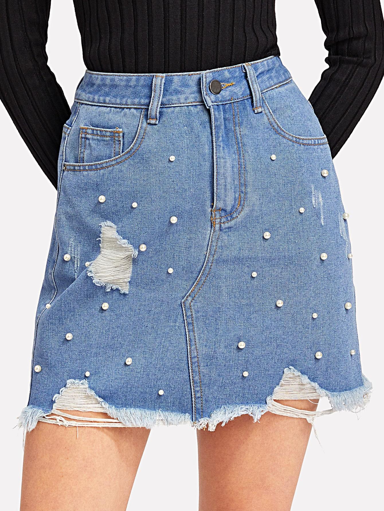 Pearl Beaded Raw Hem Skirt
