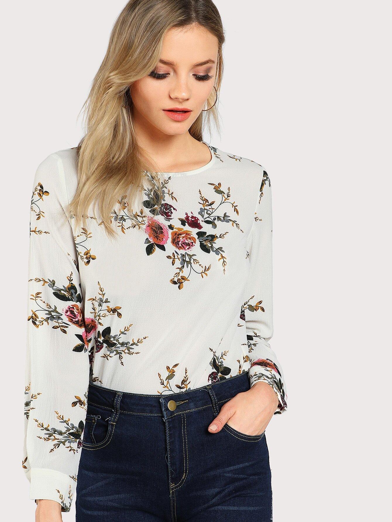 Купить Модная асимметричная блуза с цветочным принтом, Alanna Whittaker, SheIn