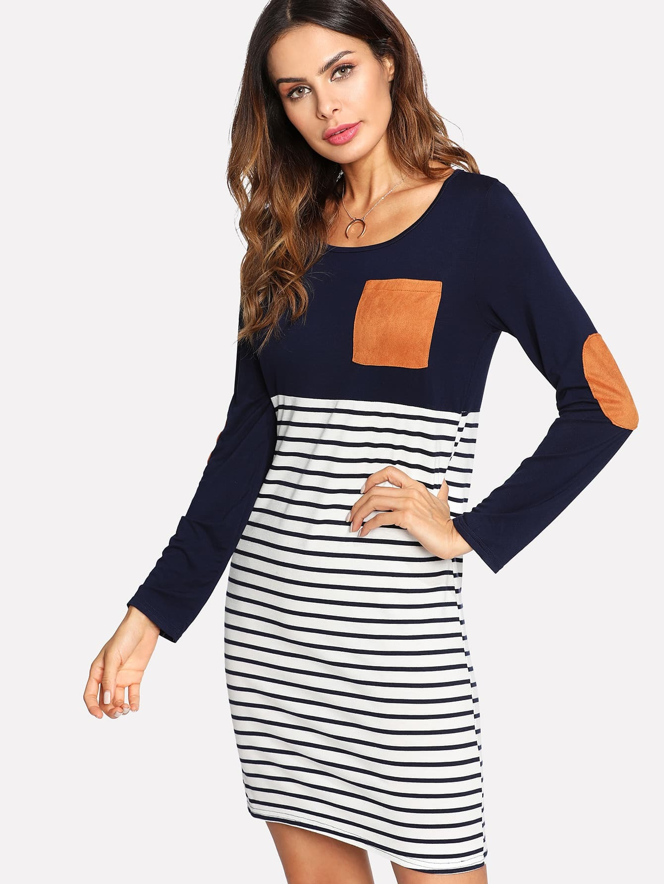 Contrast Suede Patches Striped Dress feron gs m361 18896