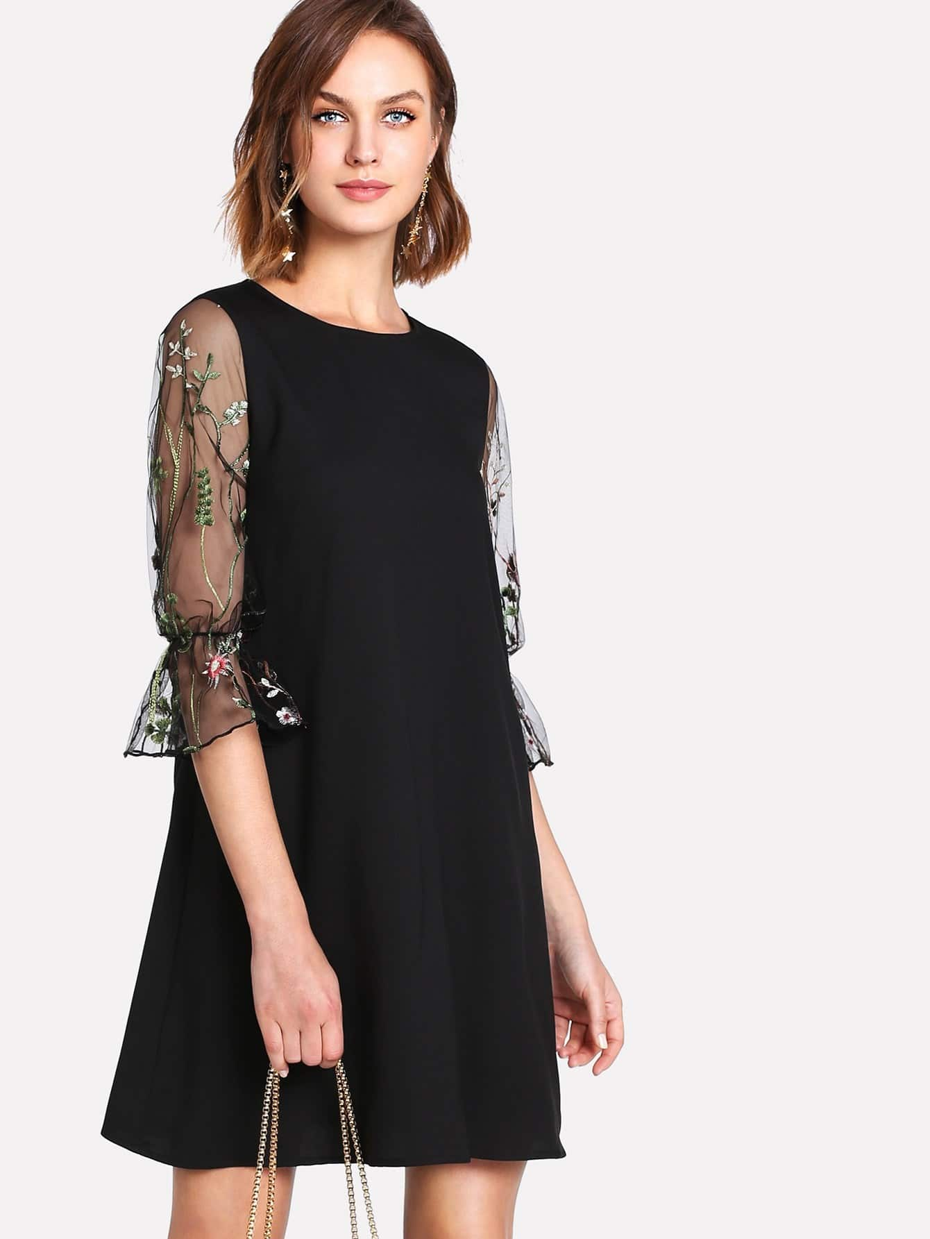 все цены на Botanical Embroidery Mesh Flounce Sleeve Dress