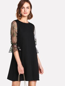 Botanical Embroidery Mesh Flounce Sleeve Dress