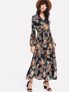 Tassel Tied Neck Tropical Print Dress
