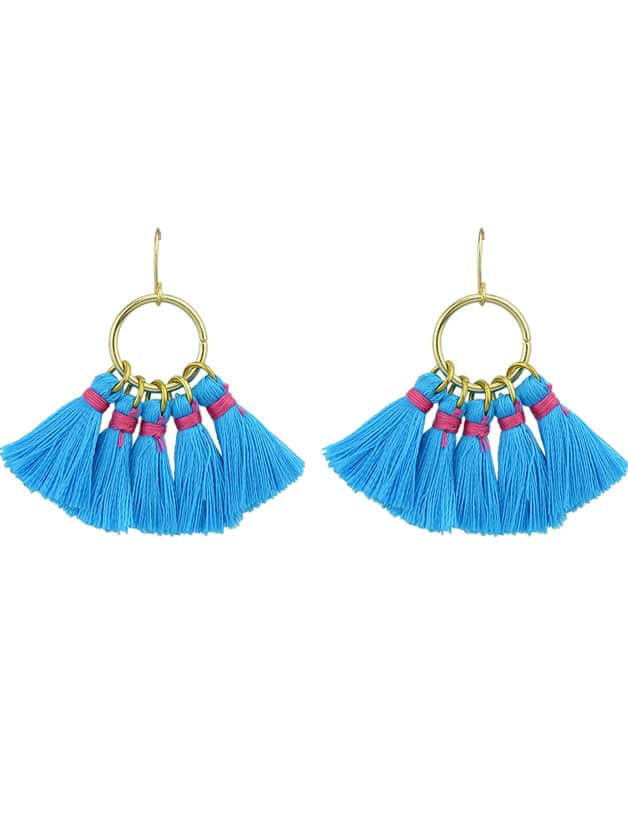 Blue Boho Style Party Earrings Colorful Tassel Drop Earrings цены онлайн