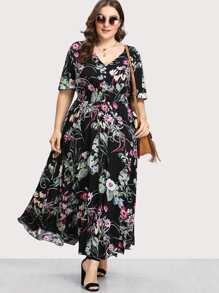 Button Front Shirred Waist Botanical Dress
