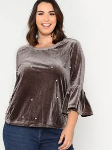 Ruffle Sleeve Pearl Embellished Velvet Top