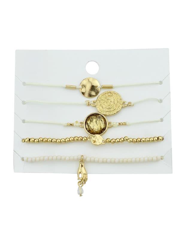 Image of 5Pcs/Set White Rop Chain Round Hand Charm Elastic Bracelets