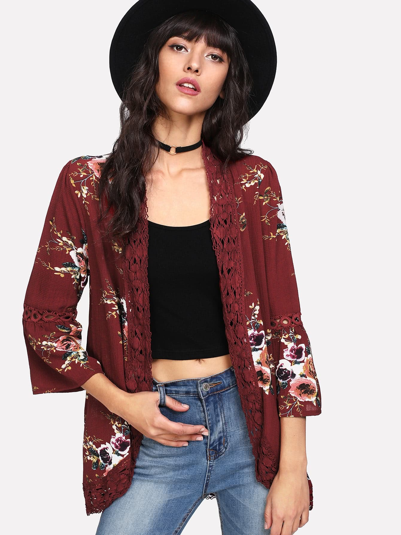 Trumpet Sleeve Lace Detail Floral Kimono bell sleeve floral lace kimono
