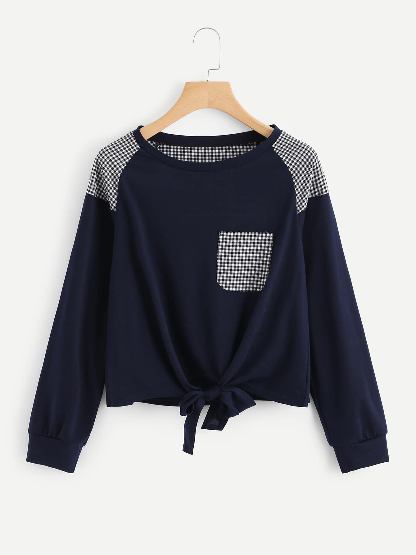 Knot Front Gingham Panel Raglan Pullover knot front gingham top