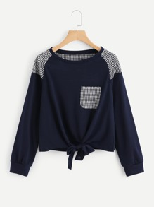 Knot Front Gingham Panel Raglan Pullover