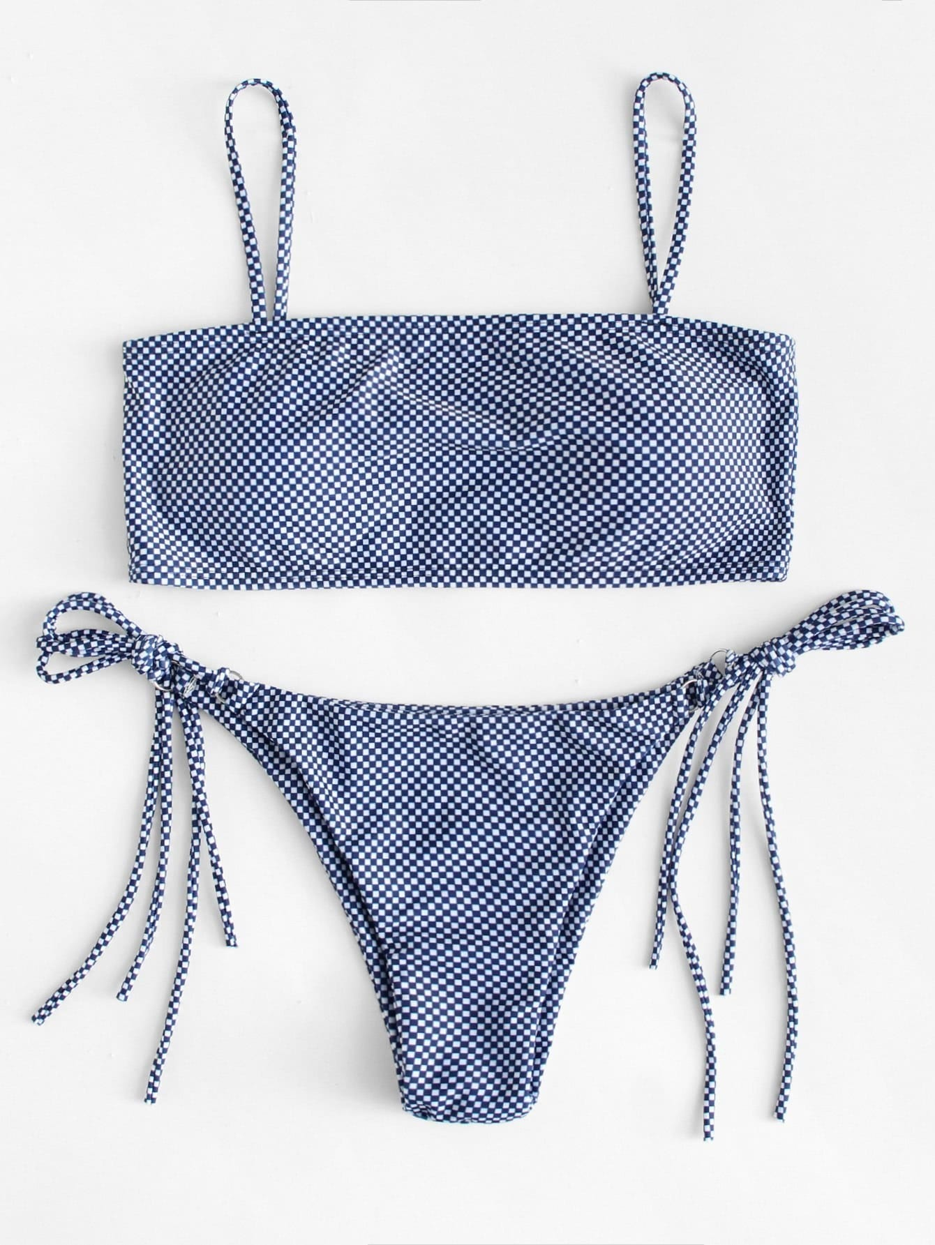Tie Side Checker Bikini Set