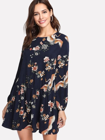 Mixed Print Drop Waist Dress