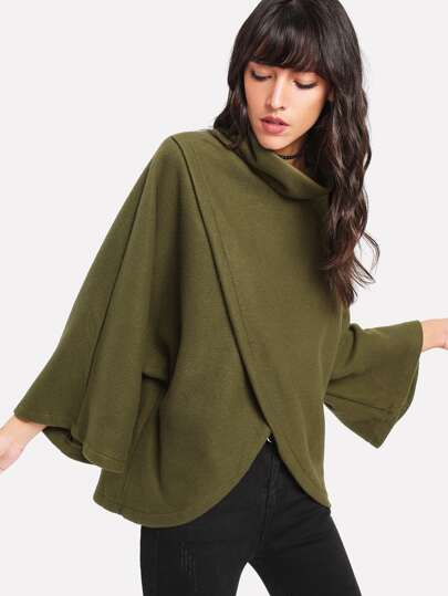 Overlap Front Dolman Sleeve Pullover