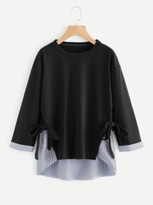 Contrast Stripe Knotted Side Dip Hem Sweatshirt