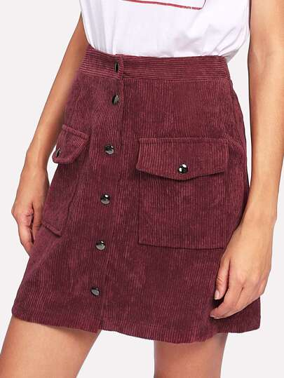 Pocket Front Button Through Corduroy Skirt