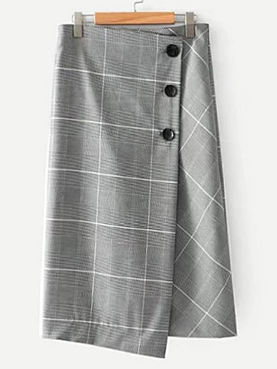 Wrapped Asymmetrical Houndstooth Skirt