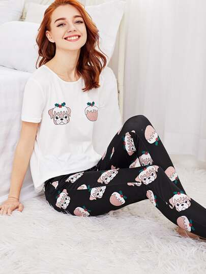 Allover Dog Print Tee And Pants PJ Set
