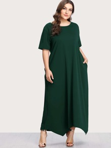 Short Sleeve Hanky Hem Maxi Dress