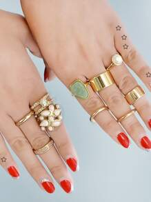 10 Pcs/Set Geometric Circle Knuckle Ring Set