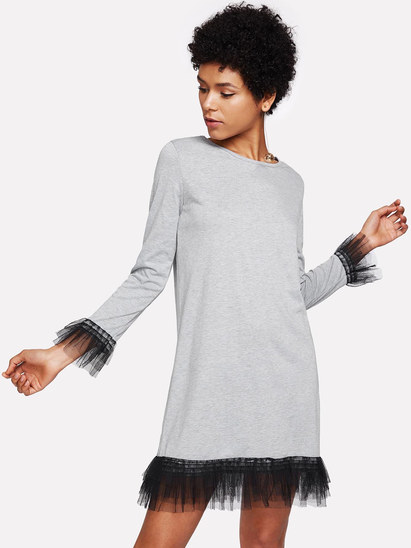 Tiered Mesh Trim Dress swan print tiered mesh dress