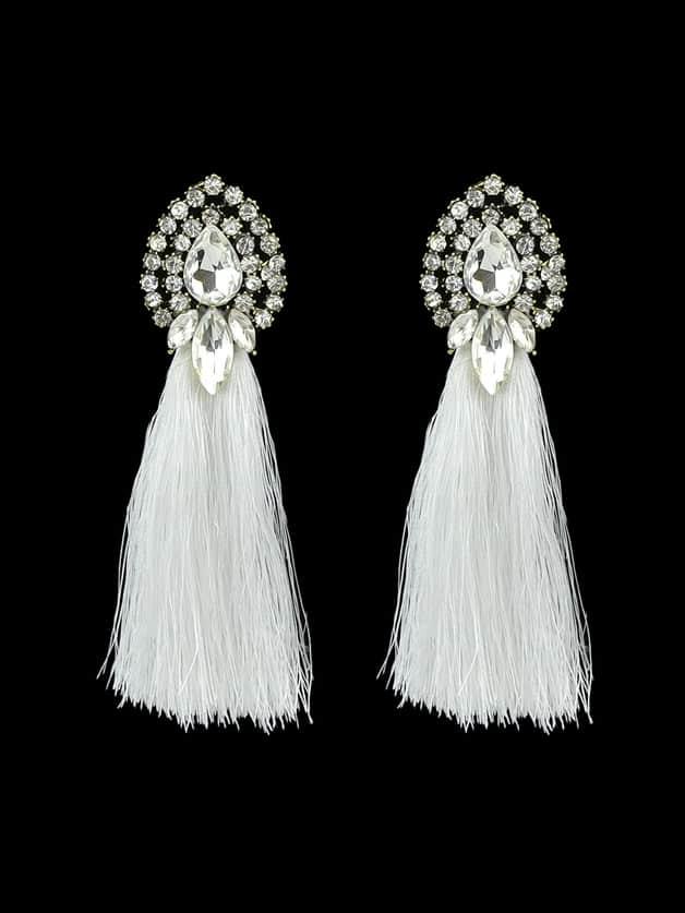 White Bohemian Style Colorful Water Drop Crystal Tassel Long Dangle Earring