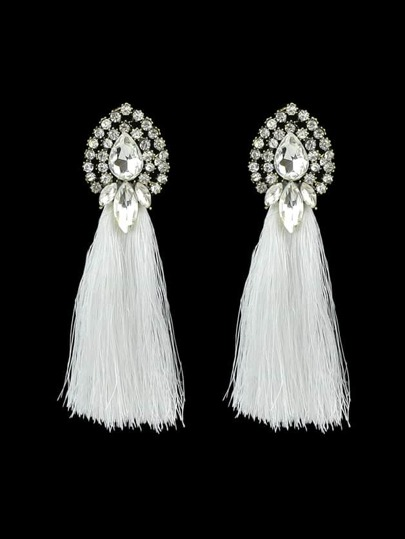White Bohemian Style Colorful Water Drop Crystal Tassel Long Dangle Earring