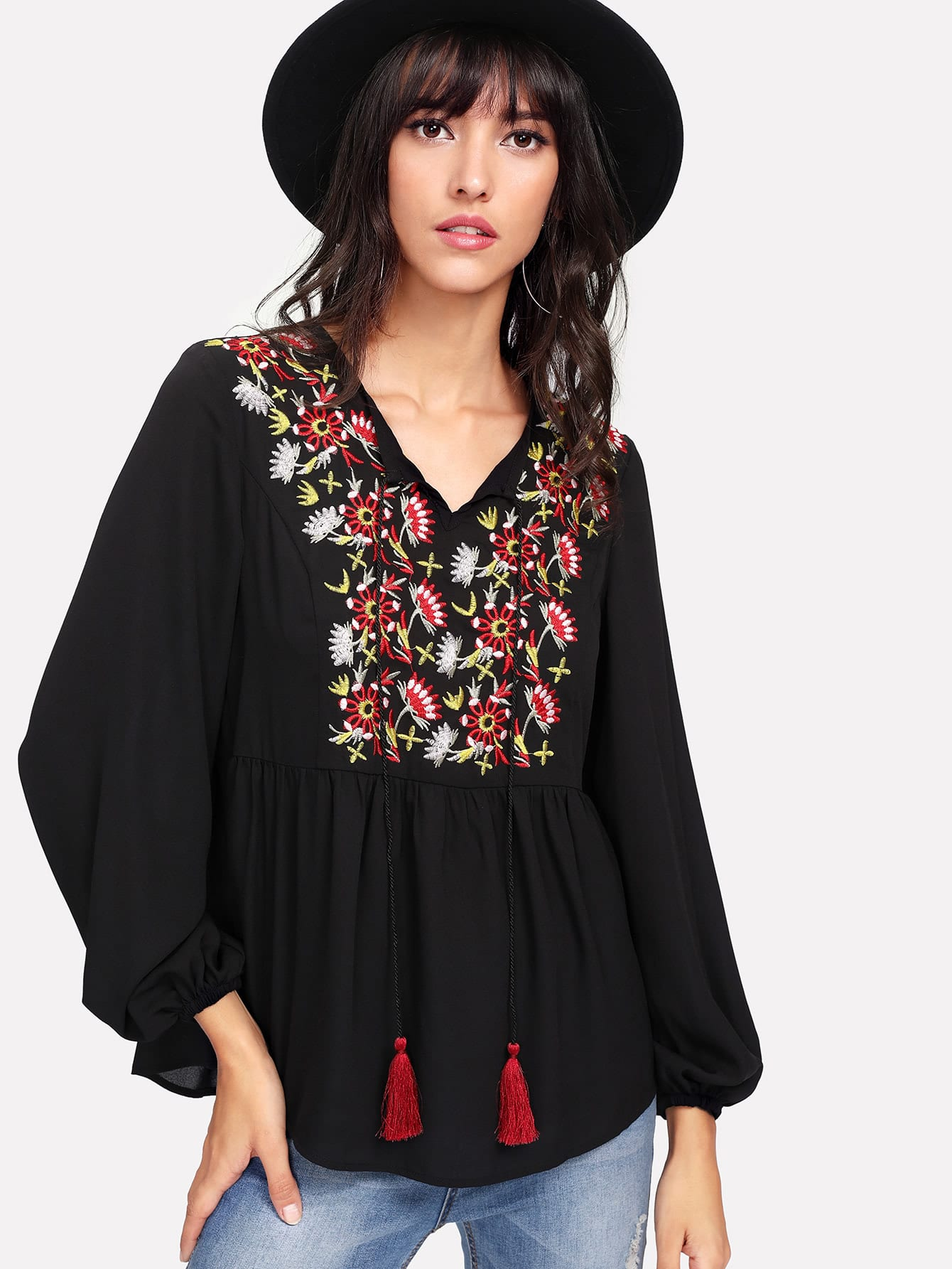 Flower Embroidered Yoke Smock Top embroidered yoke buttoned keyhole frill sleeve smock top