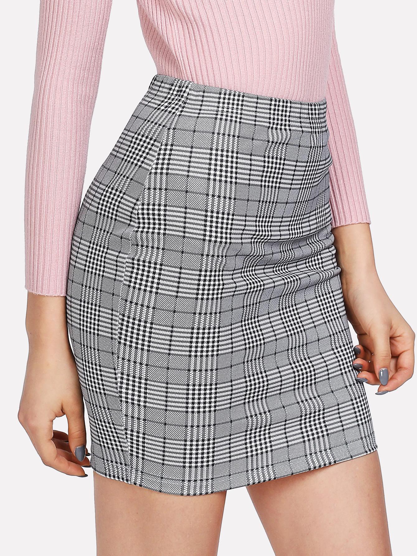 Plaid Print Bodycon Skirt stripe panel plaid bodycon skirt