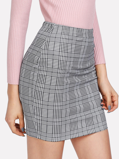 Bodycon Rock mit Plaidmuster